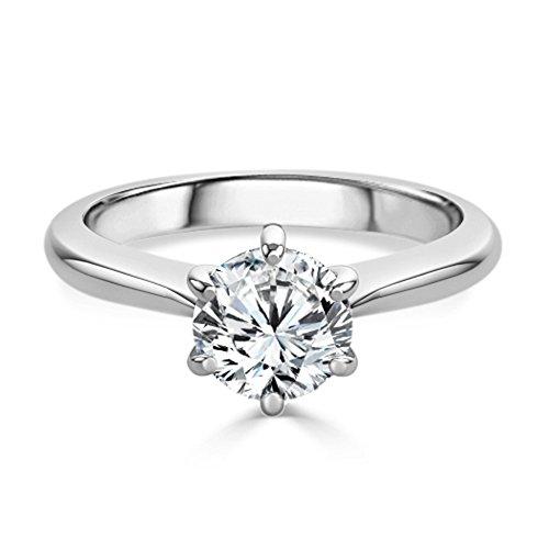 Verlobungsring mit rundem Moissanit-Solitär-Diamant, Sterling-Silber 925, Weißgold-Finish, Größe M