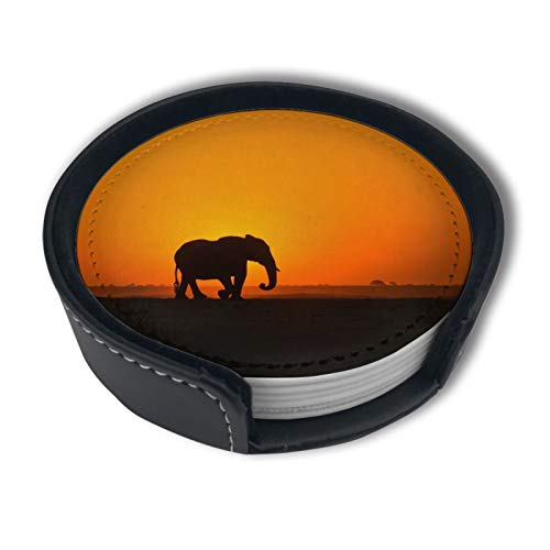 African Elephant Crosses in Front of The Setting Sunleather Coasters with Holder Set of 6,Marble Coasters for Drinks,Funny Housewarming Gift,Round Cup Mat Pad for Home and Kitchen