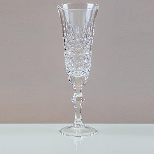 Victoria Rhipidure cristal Flûtes à champagne en cristal 24% plomb Coupe 100% fait main (Lot de 6)