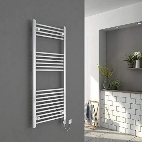 Warmehaus Elektrischer Thermostat Handtuchheizkörper Elektro Badheizkörper 1200x500mm Weiß