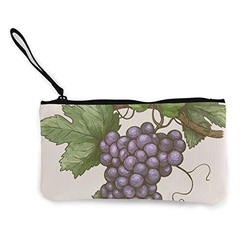 Moneda de lona, uvas en la rama, estilo retro, bolsa de cosméticos con cremallera, bolsa de maquillaje multifunción para teléfono móvil, bolsa de lápiz con asa