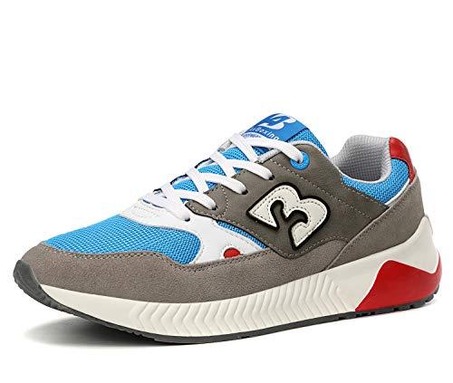 AX BOXING Zapatillas Deporte Hombres Mujer Running Sneakers Zapatos Hombre Vestir Casual Deportivas Padel Transpirables (40 EU, Gris)