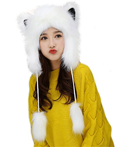 Cute Warm Plush Fluffy Faux Fur Hood Hat Spirit Ears Wolf Bear Cat Costume Hat White