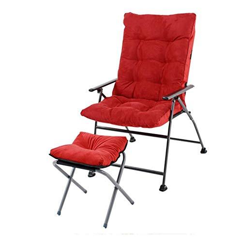 QIDI Chaise Pliante, Chaise d'ordinateur, Chaise Longue de Bureau, Chaise de canapé, Lavable, Pliable, Pause déjeuner, ménage, Chambre, Bureau (Couleur : Big Red (with footrest Stool))