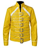 Freddie Mercury Bohemian Rhapsody Rami Malek Leather Jacket Collection, Large (Best for Chest Size 44-45), Yellow