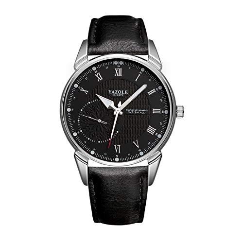 Venury Yazole 427 - Reloj de hombre de acero inoxidable resistente al agua, mecánico, de cuarzo, caja de color rodio, esfera negra, correa de piel sintética negra