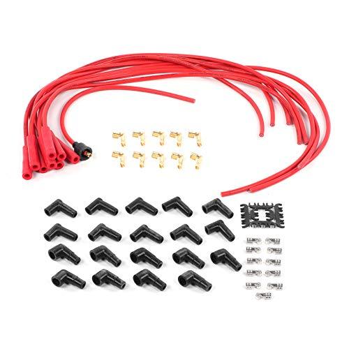 Regalo de julio Cable de bujía de encendido, terminal de cable de encendido Cables de bujía de encendido de 8 mm, silicona + acero inoxidable + fibra de vidrio para Pgrade y sistema de encendido Oe