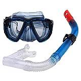 Seguridad 2 Piezas Profesional Gafas de Bucear Easybreath Set de Buceo Gafas de Natación Adultos Tubo Respirador Máscara de Buceo Máscara Snorkel Anti-Niebla Anti-Fugas Eficaz (Color : Blue)