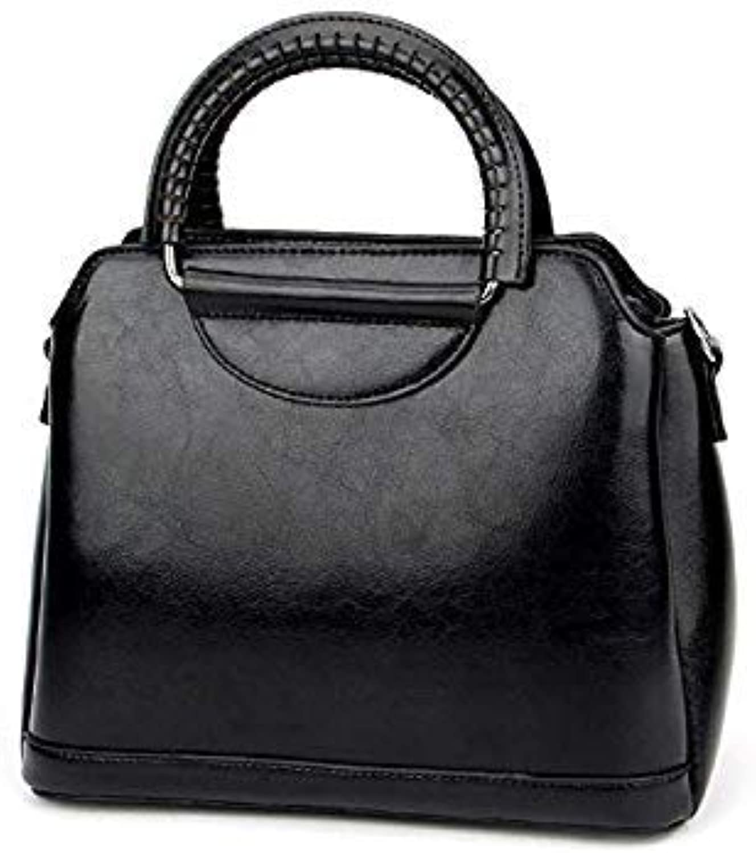 Bloomerang Fashion Vantage Genuine Leather Women's Female Luxury Famous Brands Handbag Woman Girl Tote Shoulder Messenger Bag color Black
