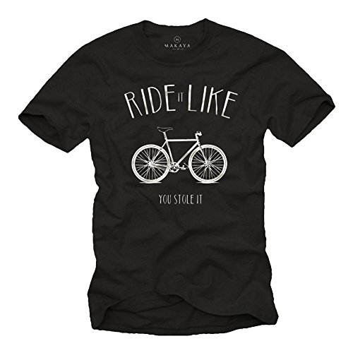 MAKAYA Ride It Like You Stole It - Camiseta Bicicleta Negra Hombre con Mensaje Divertida M