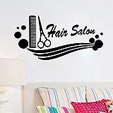 Bomdow Friseursalon Vinyl Aufkleber Kamm Schere Friseur Haarschnitt Wandaufkleber Friseursalon Für Friseursalon Schaufenster Dekoration84X42 Cm
