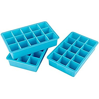 Webake 3-pack Ice Cube Tray, Flexible 15-Cavity Silicone Ice Cube Mold 1 inch - BPA Free, Stackable, Easy Release