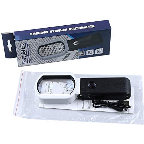WE-WHLL Lupa Plegable 7 LED y 2 Luces UV. Vista 10x / 25x para Trabajos cercanos, Lectura, reparación o Soldadura y Actividades científicas. para Personas Mayores y niños