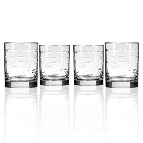 Rolf Glass School of Fish Double Old Fashioned Glass 14 ounce - Whiskey Glass Set of 4 - Lead Free Crystal Glass - Etched Tumbler Glasses - Made in the USA