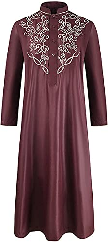 Lamand Hombres s s s sólido Color Bordado Medio Oriente marroquí Musulmanes Manga Larga túnica Camisetas de Dormir camisón camisón Pijamas Ligero Azul m-XXL_Vino Rojo