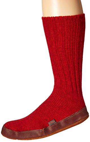 Acorn Unisex Slipper Sock, Crimson Ragg Wool, 6.5-7.5 M US