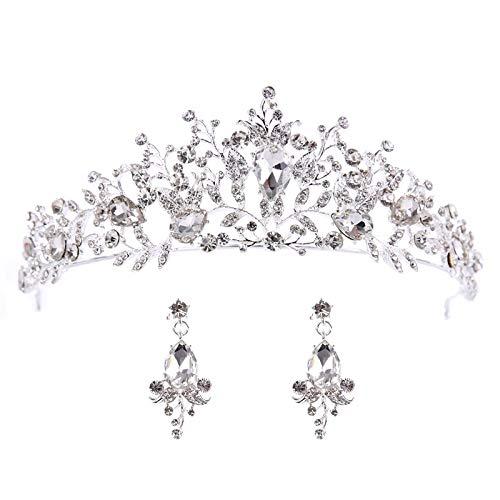 LQXZJ Corona Accesorios del Pelo, Nupcial Tiara de la Corona, Rosa de Cristal Corona de Novia de Princesa, Accesorios de Boda (Color : Silver)
