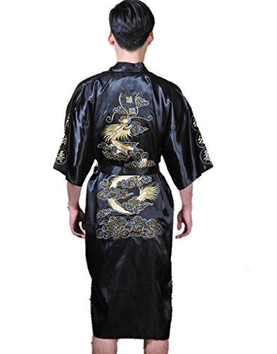 UK Voorraad Zwarte Zijde Badjas Kimono Jurk Draak Borduurwerk Yukata Hakma Vintage Snelle Levering Volgende dag Verzending