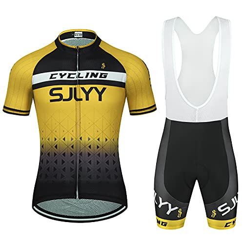 JQKA Conjunto de Ciclismo para Hombre, Maillot de Manga Corta + Culote Pantalones Cortos Acolchado 3D para Bicicleta de Verano(Size:X-pequeño,Color:Amarillo)