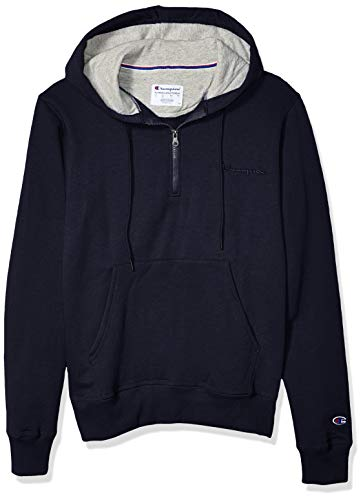 Champion Men's Powerblend 1/4 Zip Hoodie, Navy, Large