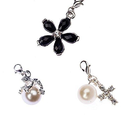 VAGA - Juego de 3 colgantes de clip para pulseras, collares con forma de rana de plata en perla blanca, diamantes de imitación, cruz decorada con perla y piedras preciosas negras