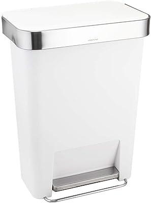 シンプルヒューマン CW1387 レクタンギュラーステップカン ポケット付 ホワイト プラ 45L [並行輸入品]