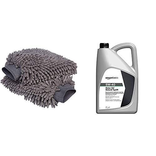 AmazonBasics - Guanto Deluxe in microfibra per la pulizia dell'auto, Confezione da 2 & Olio motore 5W-40 TypVR, 5 L