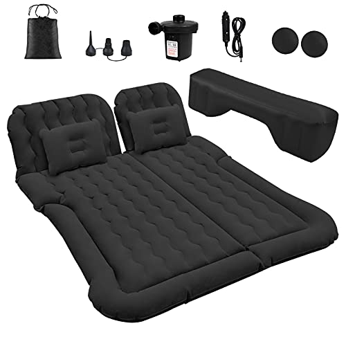 SUV Air Mattress, Car Inflatable Mattress with Electric Pump and 2 Pillows, Flocking & PVC Surface, Car Sleeping Bed for Home, Outdoor Camping and Travel (Black)
