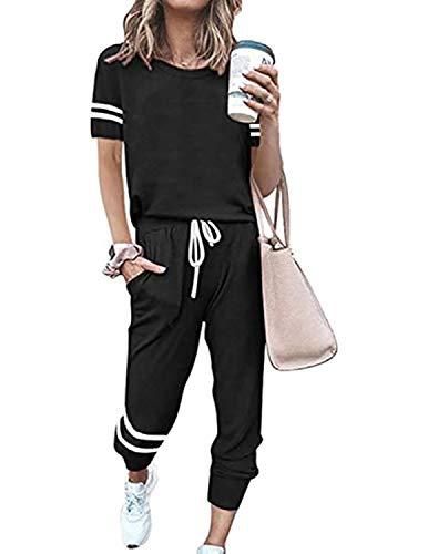 BUOYDM Tuta Donna Due Pezzi Sportive Completa Set Pullover + Pantaloni Casual Pigiama Casa Tempo Libero Yoga Sportswear (A-Nero, XXL)