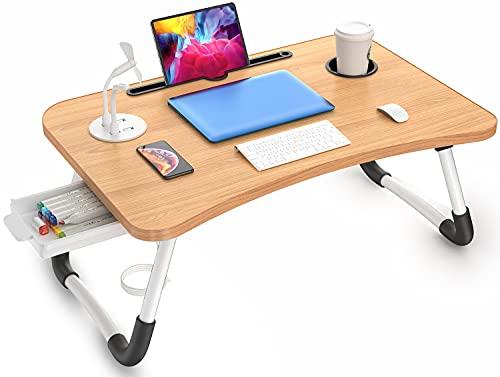 Elekin Mesa Plegable para Portátil Multifunción con Soporte USB y Taza para sofá con pequeño Regalo (Marrón)