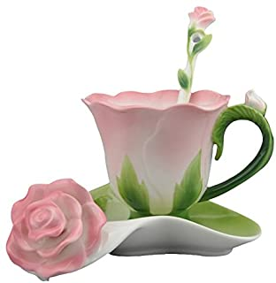 Beddinginn Hand Crafted Collection Porcelain Coffee Tea Cup Sets with Saucer and Spoon Rose Shape Design(Pink)