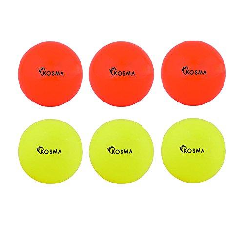Kosma Set mit 6 glatten Hockeybällen | Outdoor Sports PVC Übungsball - (3 Gelb, 3 Orange)