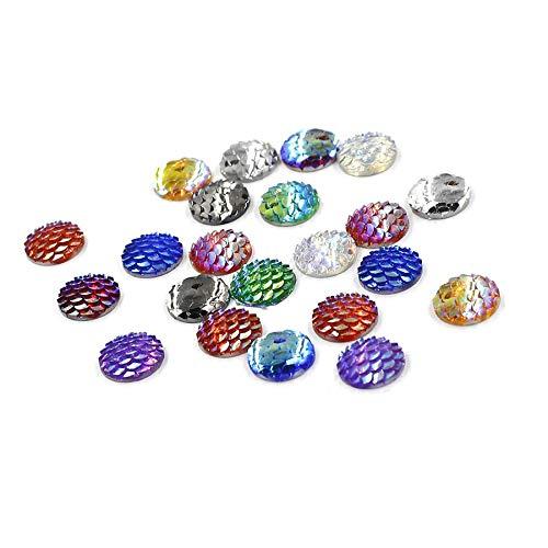 Cabujones brillantes de resina con diseño de sirena, para decoración de peces, abalorios, manualidades, joyería, 0.472in, 120 unidades