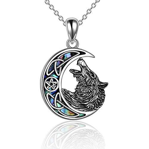 YAFEINI Collar de lobo de plata de ley con colgante de lobo de luna, cabeza de lobo para mujeres y hombres