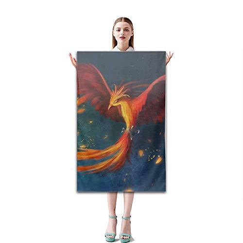 OBS Soft Bath Towel Absorbent Fade Resistant Flying Phoenix Pool Beach Bath Towel for Bathroom Hotel Gym and Spa, 51''x31''