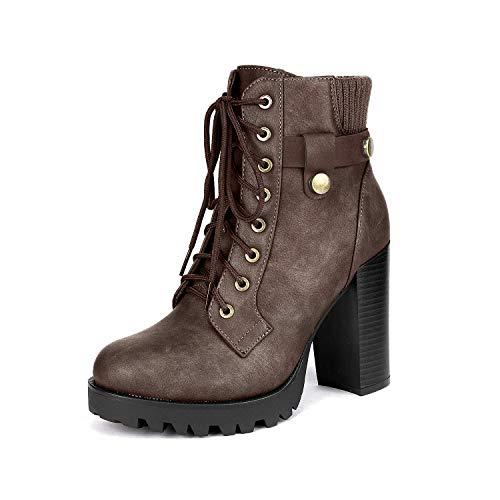 Dream Pairs SCANDL Mujer Botines de Tacón Alto Plataforma Invierno Moda Zapatos con Cordones Cremallera Marrón 41 EU/10 US