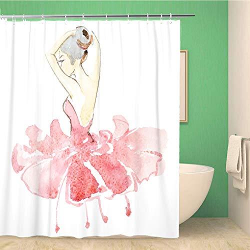 Awowee Decor Duschvorhang Ballerina Ballerina in bunten Kleidern Tänzerin Mädchen Zeichnung 180 x 180 cm Polyester Stoff wasserdicht Badvorhänge Set mit Haken für Badezimmer