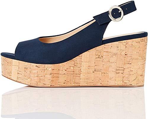 FIND Cork Peep Toe Sling Back Wedge Zapatos de tacón con Punta Abierta, Azul (Navy), 41 EU