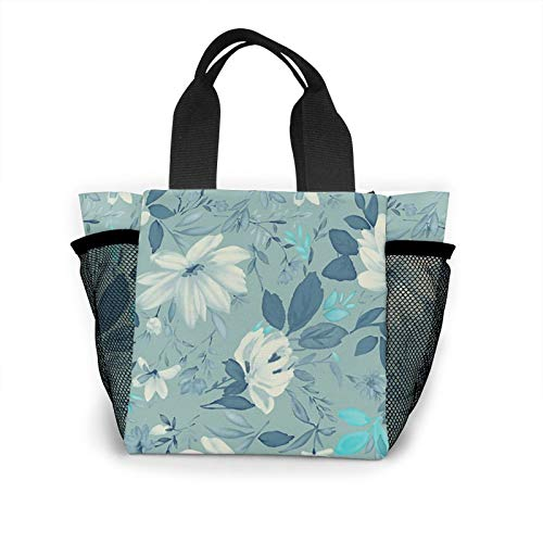 Bolso de mano para mujer con diseño de flores azules, reutilizable, pequeño bolso de mano