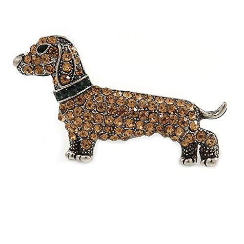 Avalaya Citrine Crystal Dachshund Dog in Pewter Tone Metal - 45mm Across