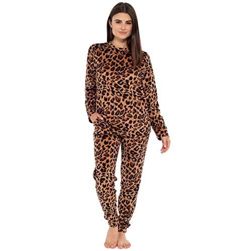 Style It Up - Pijama para mujer con forro polar suave y estampado animal Rosa Pijama estampado de leopardo Small-36-38