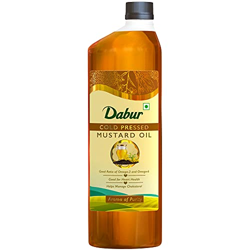 Dabur Cold Pressed Mustard Oil : Healthy Cooking Oil with The Goodness of Omega 3 & 6 1L