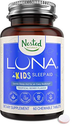 Luna Kids | #1 Sleep Aid Tablets for Children & Sensitive Adults | Naturally Sourced Ingredients | 60 Chewable Pills | Gentle Herbal Supplement with Chamomile, Melatonin, Valerian & Lemon Balm