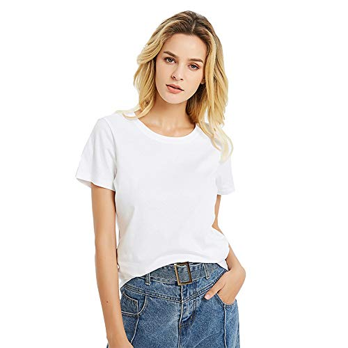 Ice-Beauty-ukzy Fashion-t-Shirts Mujer Verano Shirts Camisa Suelta Verano Mujer Manga Corta Tops Blusa Casual Señoras White-L