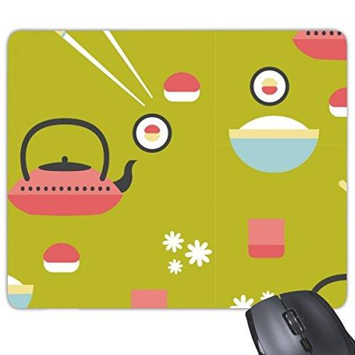 Japan Cultuur Japanse Stijl Leuke Groen Blauw Rood Wit Rijst Theepot Cup Sushi eetstokjes Sakura Illustratie Patroon Rechthoek Antislip Rubber Mousepad Game Mouse Pad