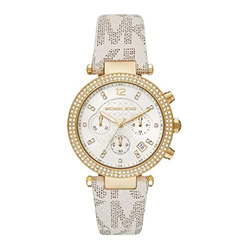 Reloj de Pulsera de Cuarzo para Mujer Michael Kors Modelo Parker de Acero Inoxidable Chapado en Dorado, con Bisel con circonitas y Correa de Piel Beige con Logo de la Marca