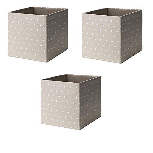 Ikea Drona Box (Beige Dotted, paquete de 3 (L:38 cm x An): 33 cm x H:33 cm)
