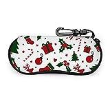 sherry-shop Estuche para gafas de sol Feliz año nuevo y feliz Navidad Estuche para gafas Estuche blando Estuche de anteojos con cremallera de neopreno ultraligero con clip para cinturón