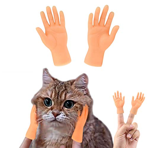 PAPIEEED 1 Pcs Interactive Pet Toys Game, Mini Finger Dog Massage Puppet Hand, Tiny Hands for Cat Tease Game Party Prank Gag Gift