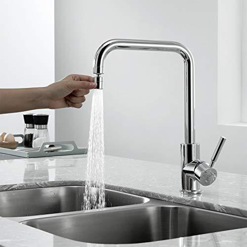 Homelody Wasserhahn Küche, 360° drehbar Küchenarmatur, 2 Strahlarten Spülbecken Armatur, Hochdruck Einhebelmischer Spültischarmatur, Mischbatterie für Küche Chrom